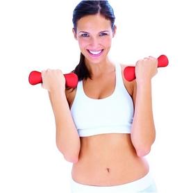 Фото 2 к товару Гантели для фитнеса неопреновые 1 кг Finnlo Fitness Dumbbell красные