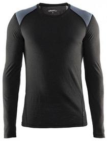 Термофутболка мужская с длинным рукавом Craft St Moritz LS M black/steel grey