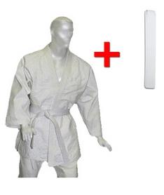 Кимоно для дзюдо Combat Budo белое + пояс в подарок - 130 см