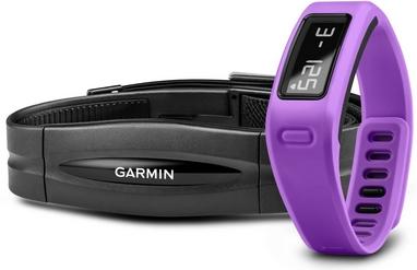 Браслет спортивный с датчиком частоты биения сердца Vivofit Purple HRM Bundle