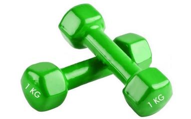 Гантели виниловые Pro Supra 2 шт по 1 кг зеленые