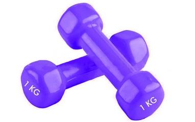 Гантели виниловые Pro Supra 2 шт по 1 кг фиолетовые