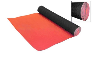 Коврик для фитнеса Yoga mat TPE+TC 4мм FI-3973 красно-черный
