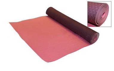 Коврик для фитнеса Yoga mat TPE+TC 4мм FI-3973 фиолетово-розовый