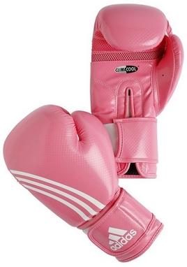 Перчатки боксерские Adidas Box-Fit розово-белые