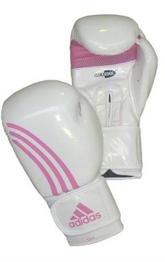 Перчатки боксерские Adidas Box-Fit бело-розовые