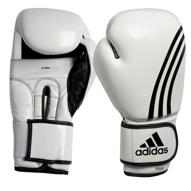 Перчатки боксерские Adidas Box-Fit бело-черные