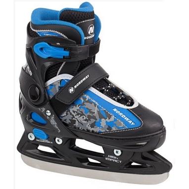 Коньки раздвижные детские Nordway SLIDE-BOY Kid's adjustable ice skates черно-синие