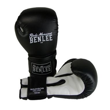 Перчатки боксерские Benlee Madison Deluxe черно-белые