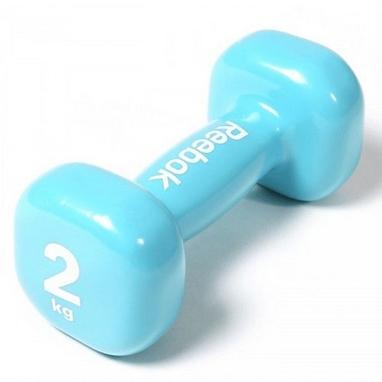 Гантель виниловая Reebok 2 кг голубая