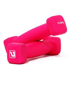 Гантели для фитнеса неопреновые LiveUp Square Head 0,5 кг розовые