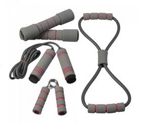 Фото 1 к товару Набор для тренировок Live Up Training Set (ручной эспандер, скакалка, эспандер восьмерка, 2 гантели)