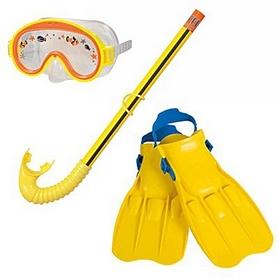 Фото 1 к товару Набор для плавания (маска + трубка + ласты) Intex 55951 желтый