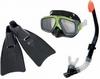 Набор для плавания (маска + трубка + ласты) Intex 55959 черный - фото 1