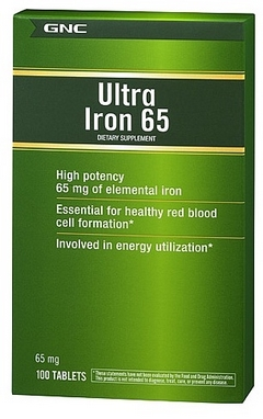 Комплекс витаминов и минералов GNC Ultra Iron 65mg (100 таблеток)