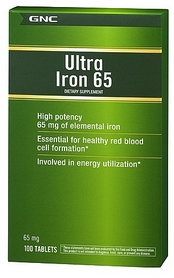 Фото 1 к товару Комплекс витаминов и минералов GNC Ultra Iron 65mg (100 таблеток)