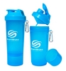 Шейкер 2-х камерный SmartShake Slim 500 мл neon blue - фото 1