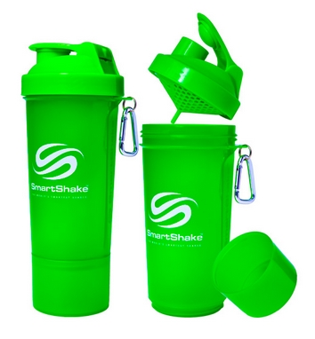 Шейкер 2-х камерный SmartShake Slim 500 мл neon green