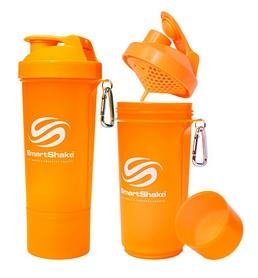 Шейкер 2-х камерный SmartShake Slim 500 мл neon orange