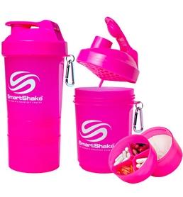 Шейкер 3-х камерный SmartShake Original 600 мл neon pink
