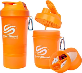 Шейкер 3-х камерный SmartShake Original 600 мл neon orange