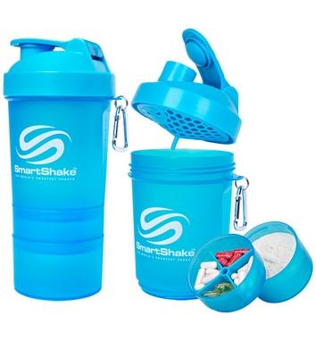 Шейкер 3-х камерный SmartShake Original 600 мл neon blue