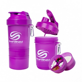 Шейкер 3-х камерный SmartShake Original 600 мл neon purple