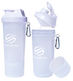 Шейкер 2-х камерный SmartShake Slim 500 мл pure white