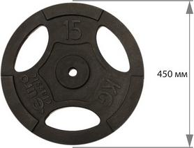 Фото 2 к товару Диск чугунный USA Style 15 кг с хватами - 26 мм