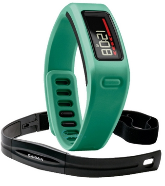 Браслет спортивный с датчиком частоты биения сердца Vivofit Green HRM Bundle