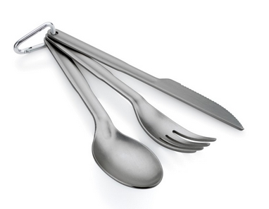 Набор посуды (нож, вилка, ложка) GSI Outdoors Ring Cutlery Set grey