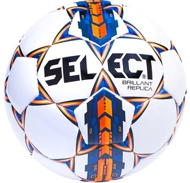 Мяч футбольный Select Brillant Replica 4 белый/синий/оранжевый