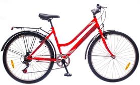 """Велосипед городской женский Discovery Prestige Woman 14G Vbr St 26"""" 2016 с багажником красно-серый, рама 17"""""""
