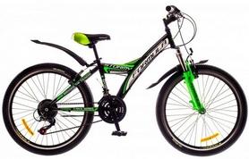 """Велосипед подростковый Formula Stormy AM 14G Vbr St  24"""" 2016 черно-зеленый, рама 13,5"""""""