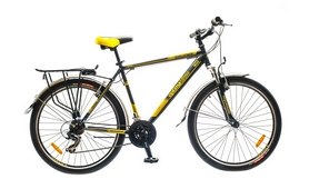 """Велосипед городской Optimabikes Columb AM 14G St 26"""" 2015 с багажником, черно-желтый рама-19"""""""