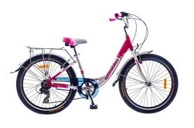 """Велосипед городской Optimabikes Vision Vbr Al 24"""" SKD 2015 с багажником бело-красный рама - 15"""
