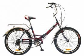 """Велосипед городской складной Optimabikes Veсtor 14G St 24"""" 2015 с багажником чёрно-красный рама - 16"""