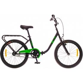 """Велосипед городской Dorozhnik FUN 14G St 20"""" с багажником черно-зеленый 2016 рама -13"""""""