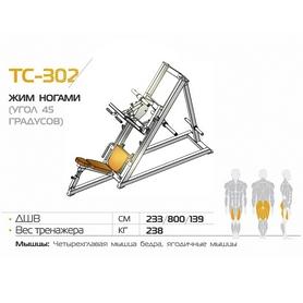Фото 2 к товару Жим ногами (угол 45 градусов) разборной  BruStyle TC-302.1