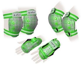 Защита спортивная детская Zel SK-4678G Candy (наколенники, налокотники, перчатки) зеленая
