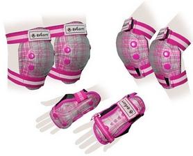 Защита спортивная детская Zel SK-4678P Candy (наколенники, налокотники, перчатки) розовая