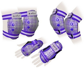 Защита спортивная детская Zel SK-4678V Candy (наколенники, налокотники, перчатки) фиолетовая