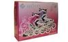 Коньки роликовые раздвижные ZEL Z-805P Grace бело-розовые - фото 3