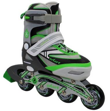 Коньки роликовые раздвижные ZEL Z-5104GRG Candy серо-зеленые
