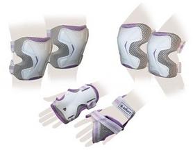 Защита спортивная для взрослых Zel SK-4677VG Grace (наколенники, налокотники, перчатки) фиолетово-серая
