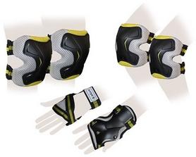 Защита спортивная для взрослых Zel SK-4677Y Grace (наколенники, налокотники, перчатки) желтая