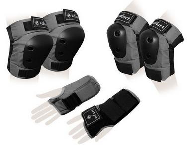 Защита спортивная для взрослых Zel SK-4680GR Metropolis (наколенники, налокотники, перчатки) серая