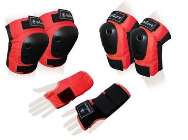 Защита спортивная для взрослых Zel SK-4680R Metropolis (наколенники, налокотники, перчатки) красная