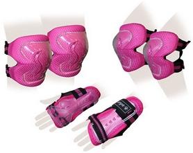 Защита спортивная детская Zel SK-4679P Lux (наколенники, налокотники, перчатки) розовая
