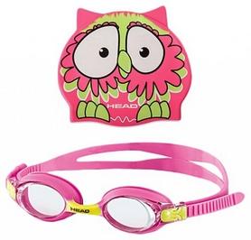 Фото 1 к товару Набор для плавания Head Meteor Character (очки + шапочка) розово-зеленый